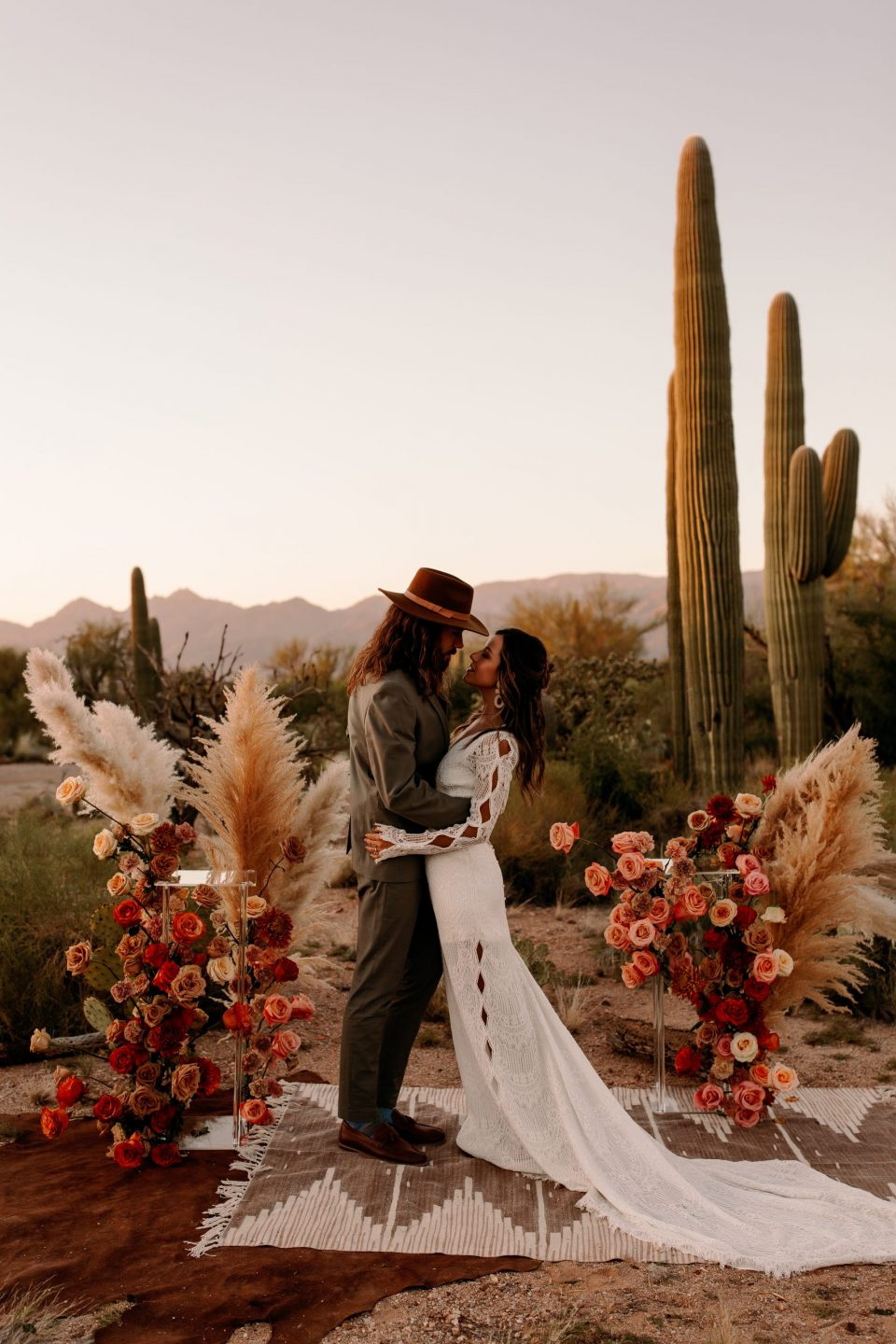 sunset colsors inspired desert boho wedding