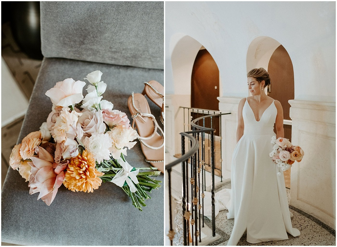 bride holding a lush bouquet of mauve, blush, and orange blooms