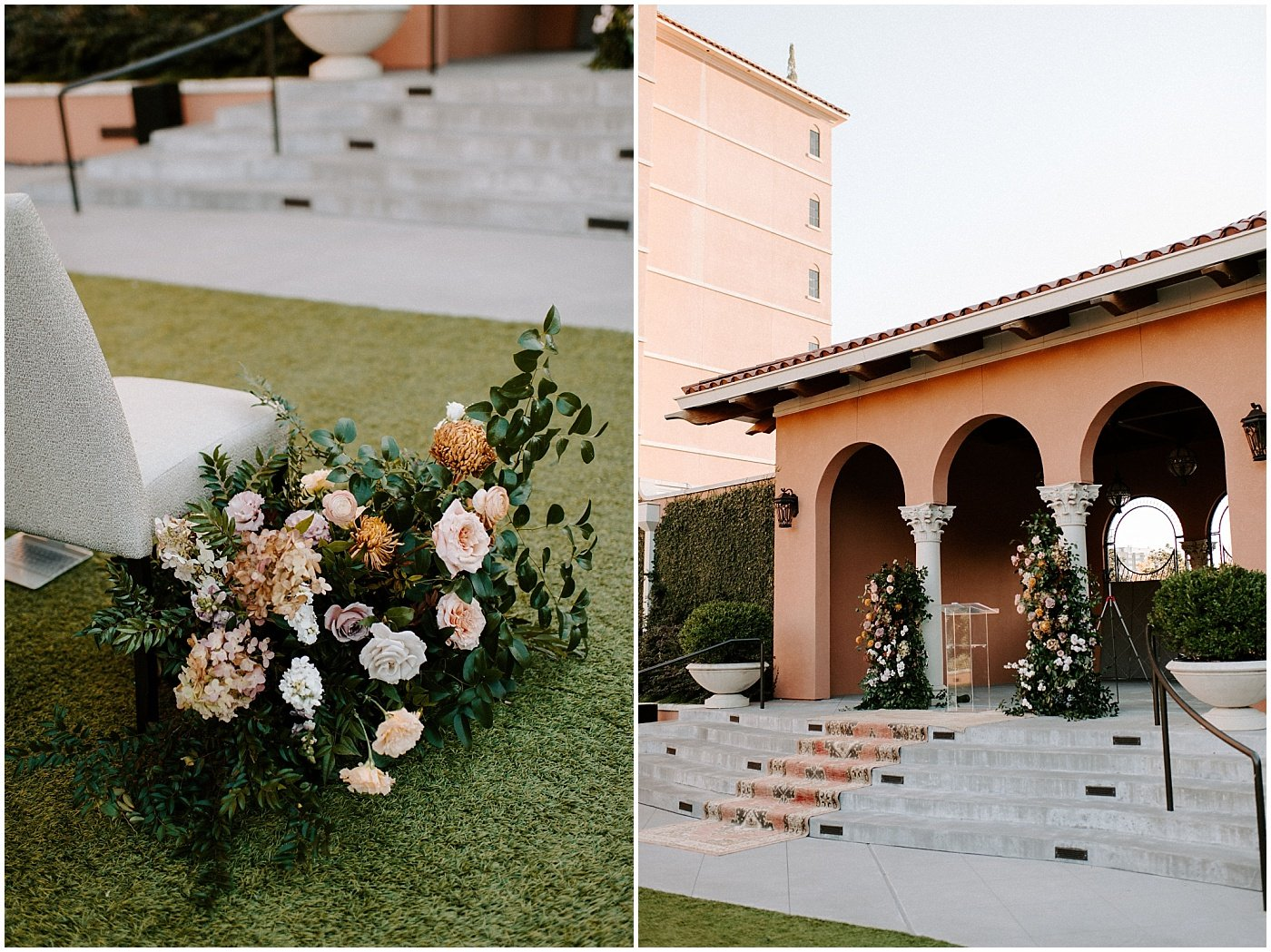 ceremony floral installation of mauve, blush, and orange blooms