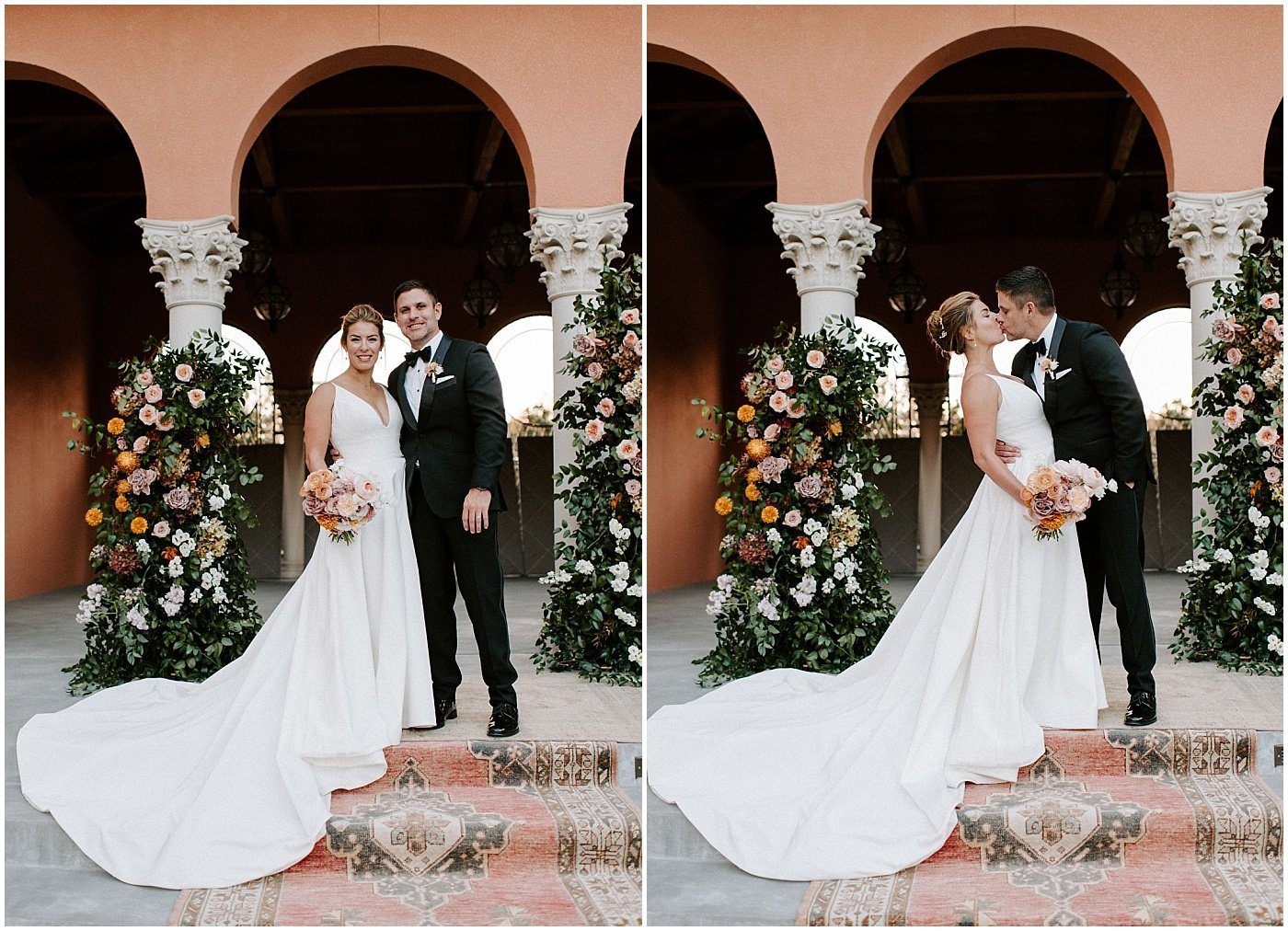 bride and groom portraits in front of their ceremony altar covered in florals