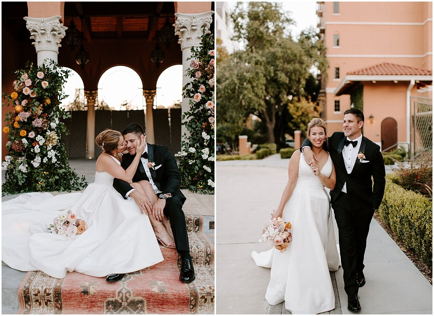 bride and groom portraits after their wedding ceremony