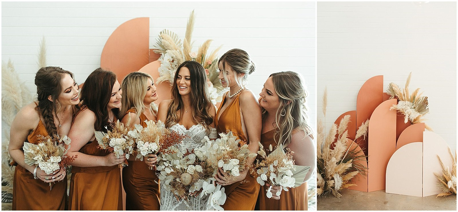 bride and bridesmaids wearing rust ong silk dresses, holding dried bouquets