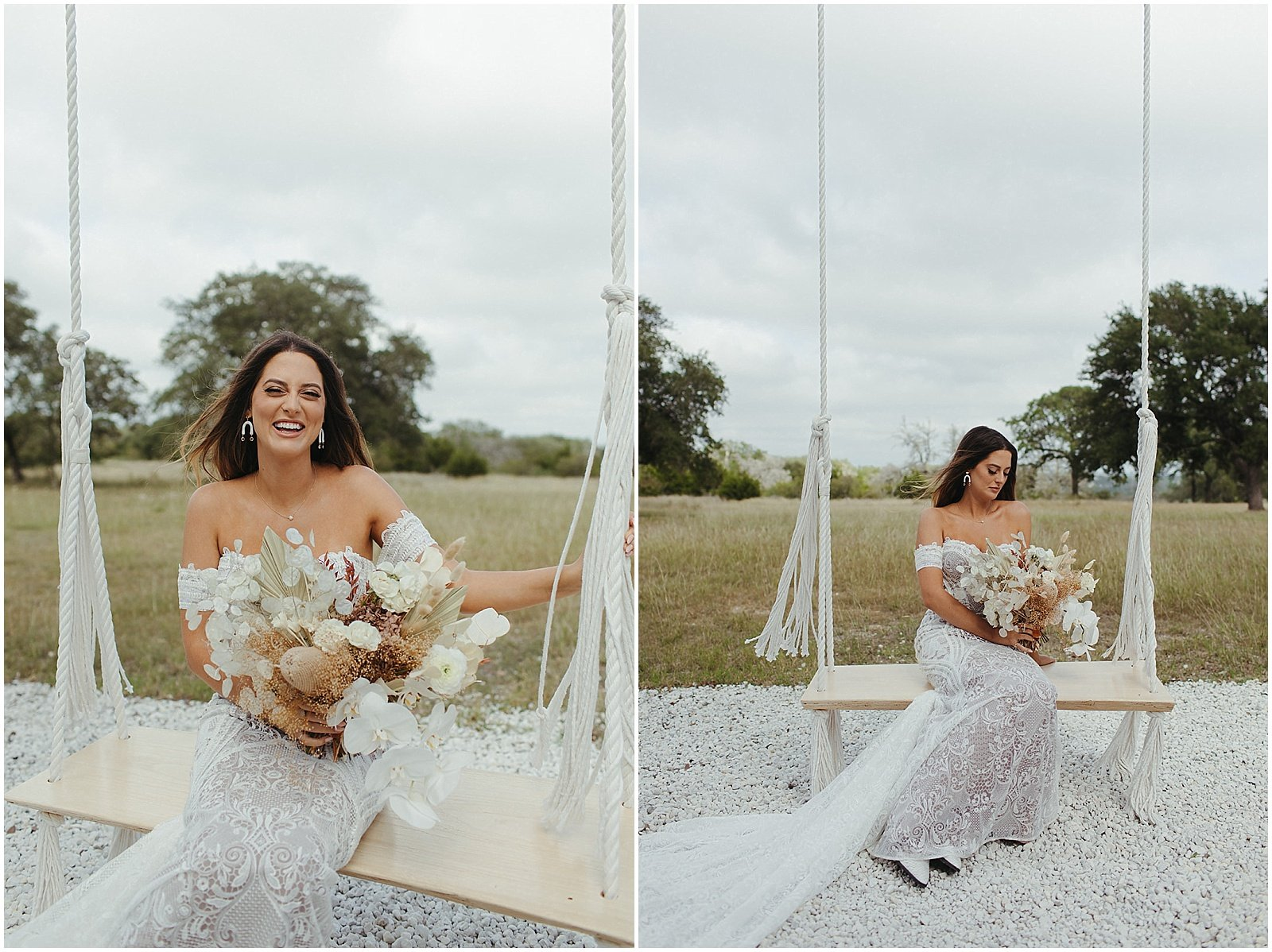 bride in a boho lace sleeveless dress, holding a white and tan dried bridal bouquet