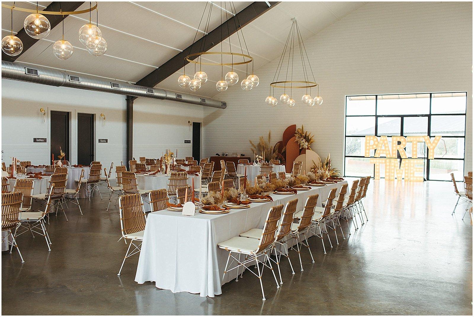wedding reception set up at mae's ridge texas wedding venue