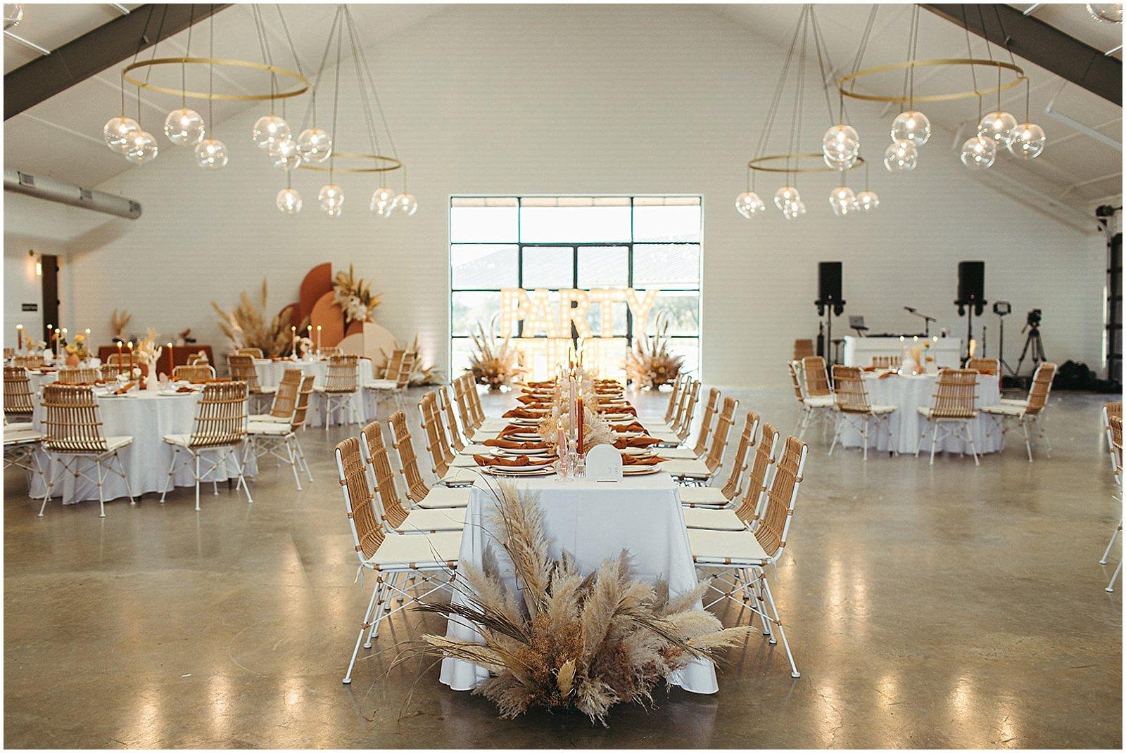 boho wedding reception decor at mae's ridge texas wedding venue