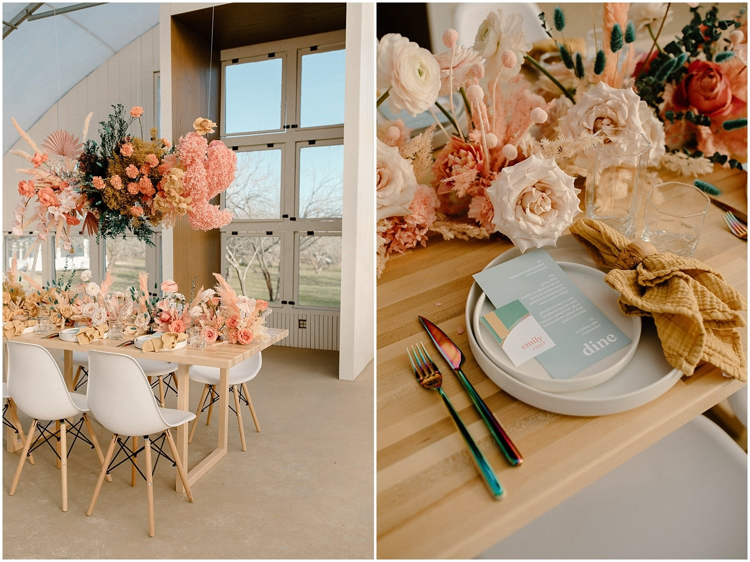 wedding reception table with colorful florals at camino real ranch in texas