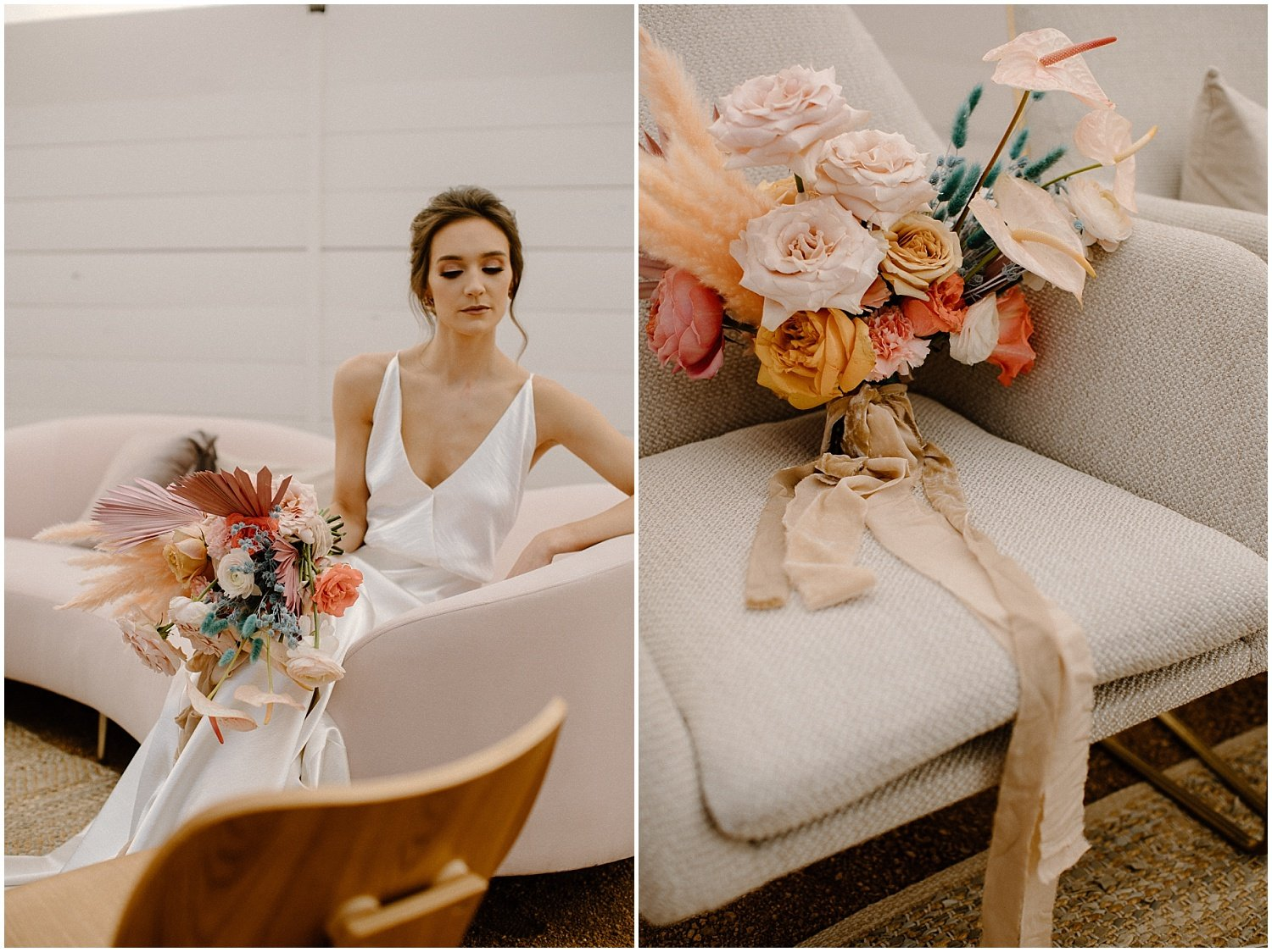 Bride holding a modern, funky, colorful bouquet