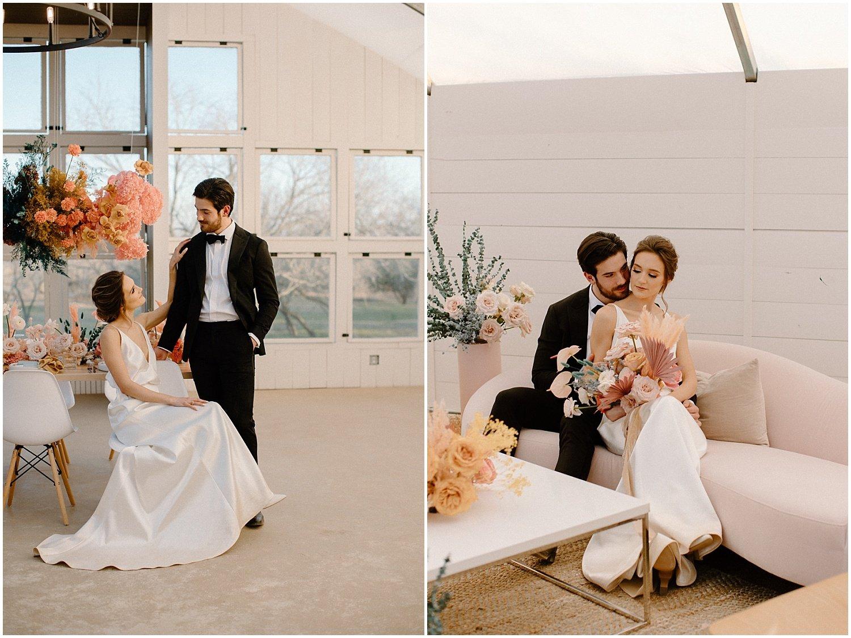 bride and groom colorful wedding shoot