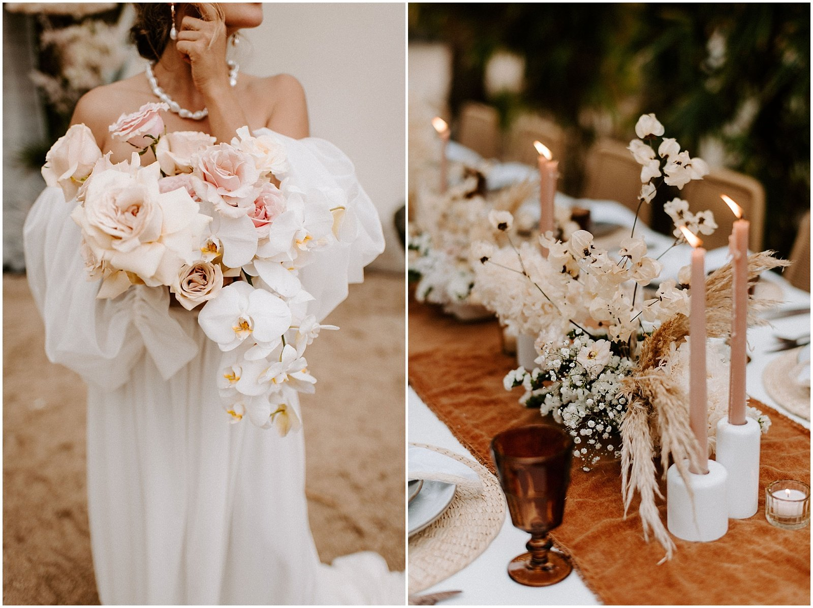 Bride holding a blush and white modern bouquet of roses and orchids