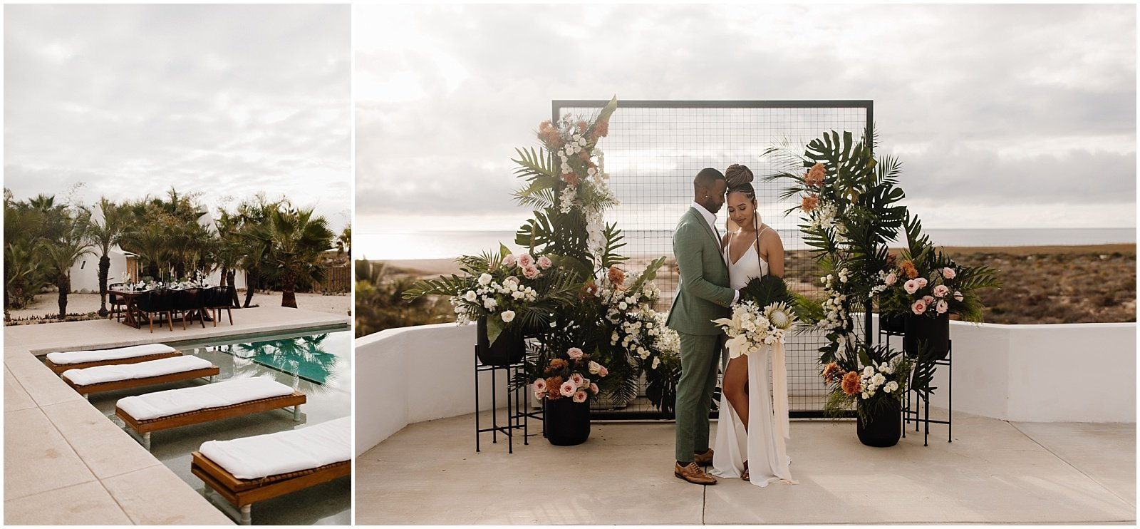 Bride and groom standing in front of a modern and tropical wedding ceremony backdrop at Pachamama Resort in Todos Santos, Mexico