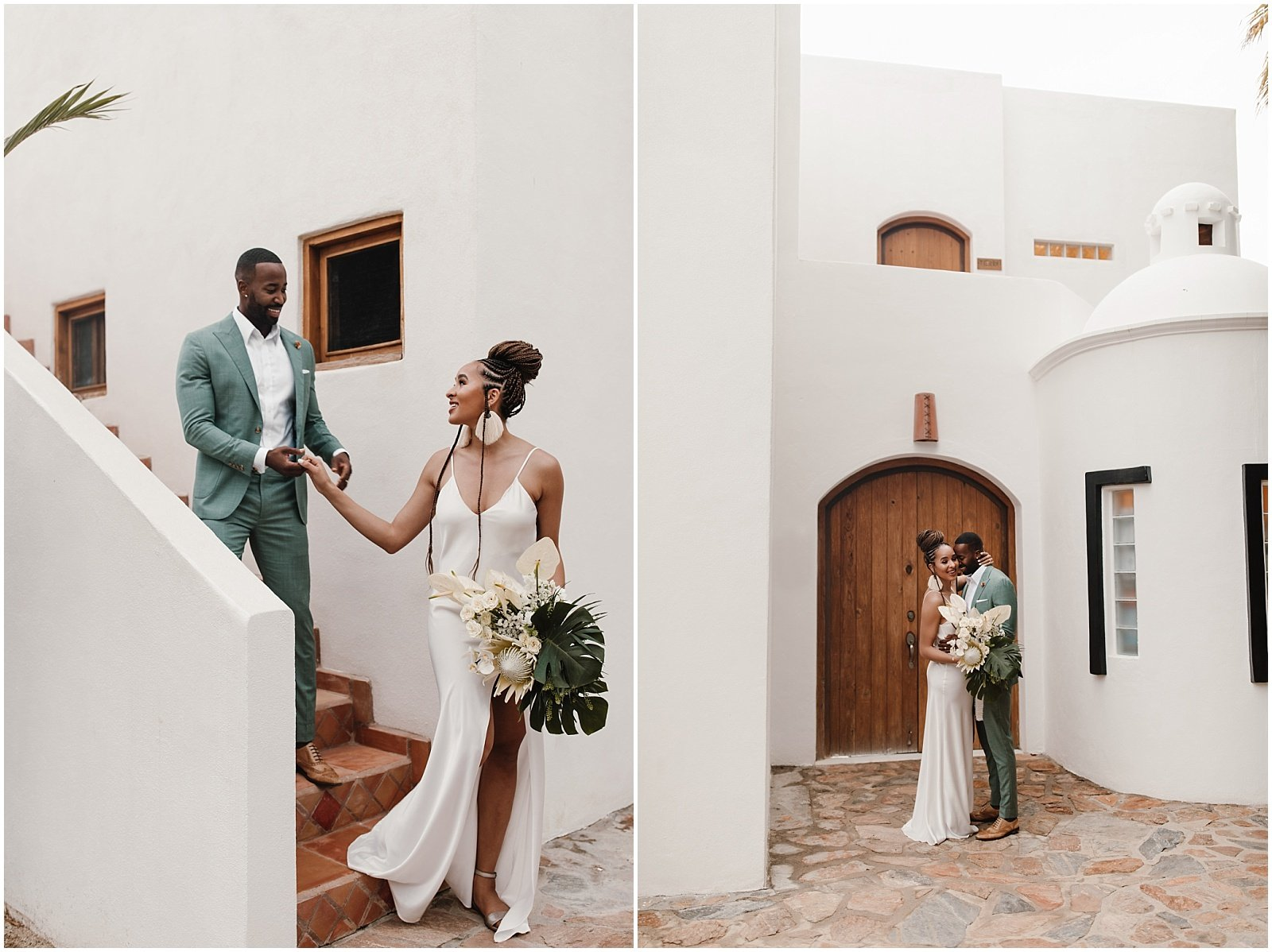 Bride and groom at Pachamama Resort in Todos Santos, Mexico