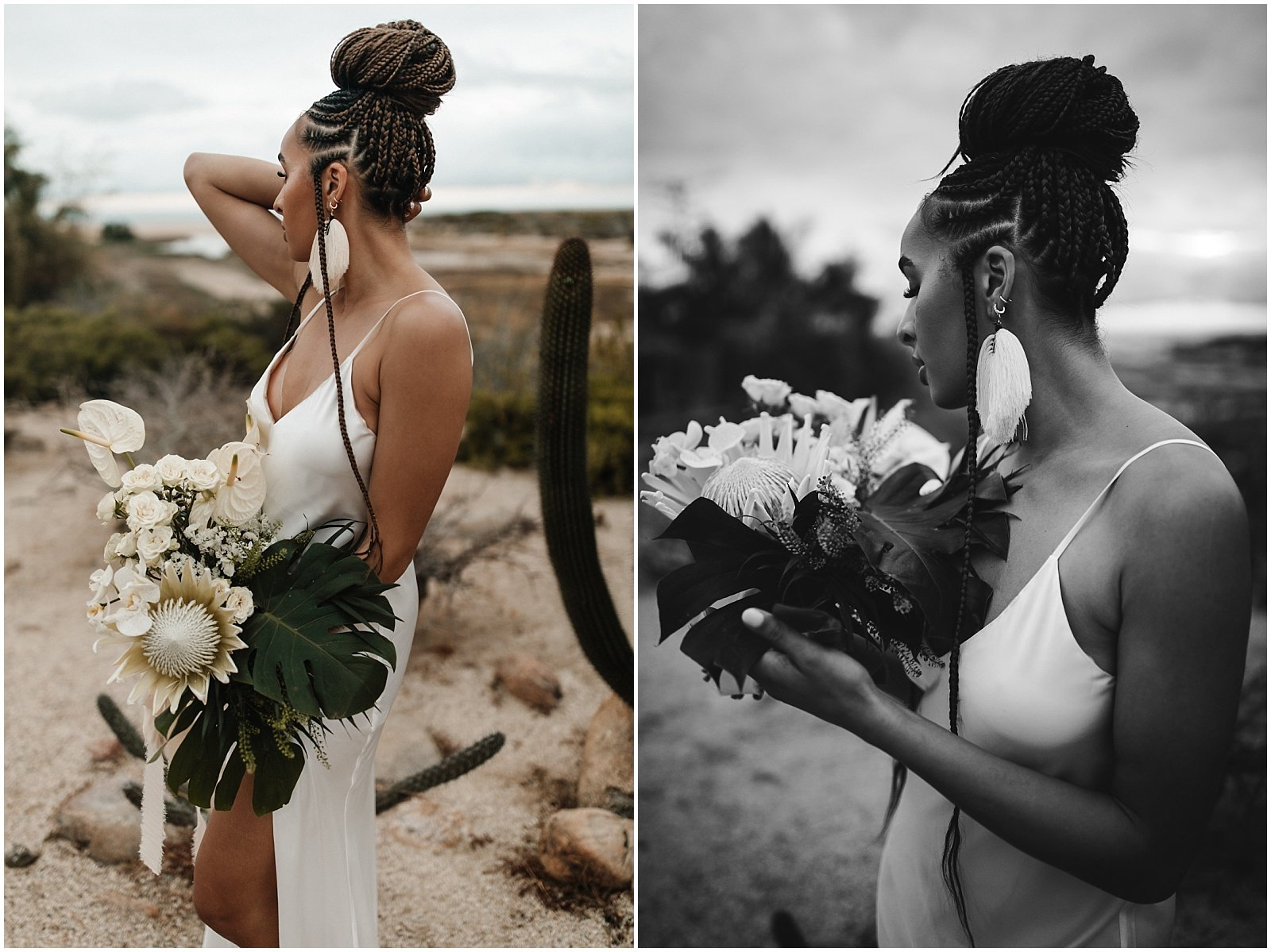 Bride holding a tropical bouquet of anthurium, orchids, protea, and palm leaves