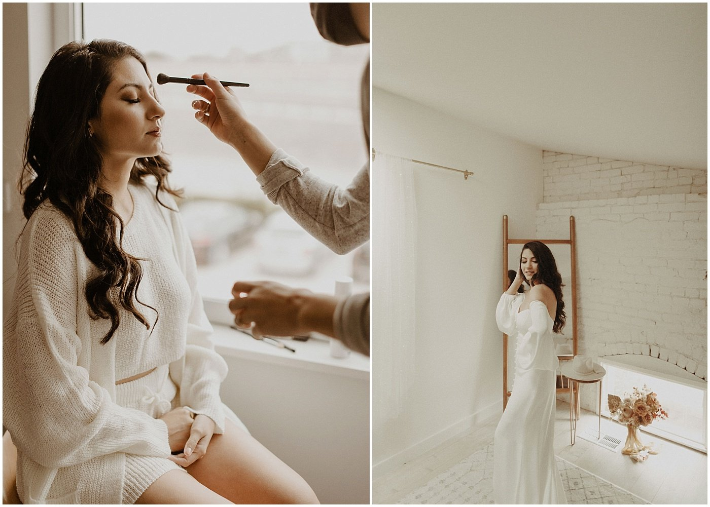 bride getting ready for her wedding day at one eleven east