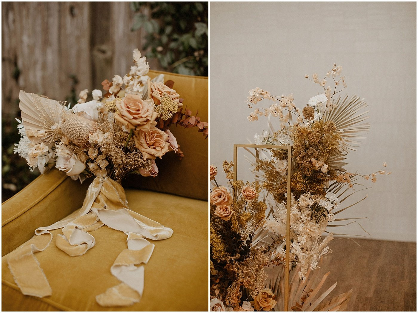 blush and terracotta dried florals for wedding at one eleven east