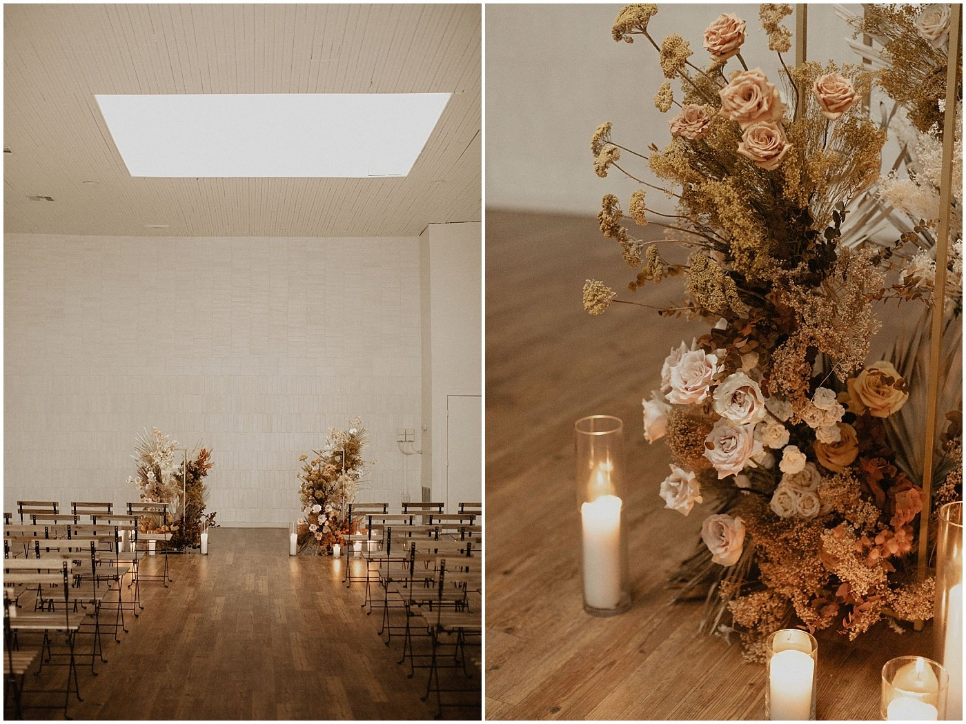 blush and terracotta dried floral installation for wedding ceremony at one eleven east