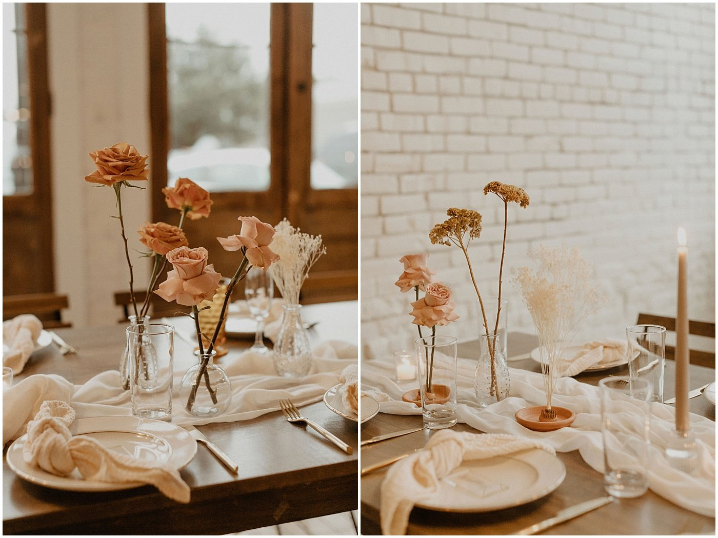 floral stems in bud vases on wedding reception tables at one eleven east