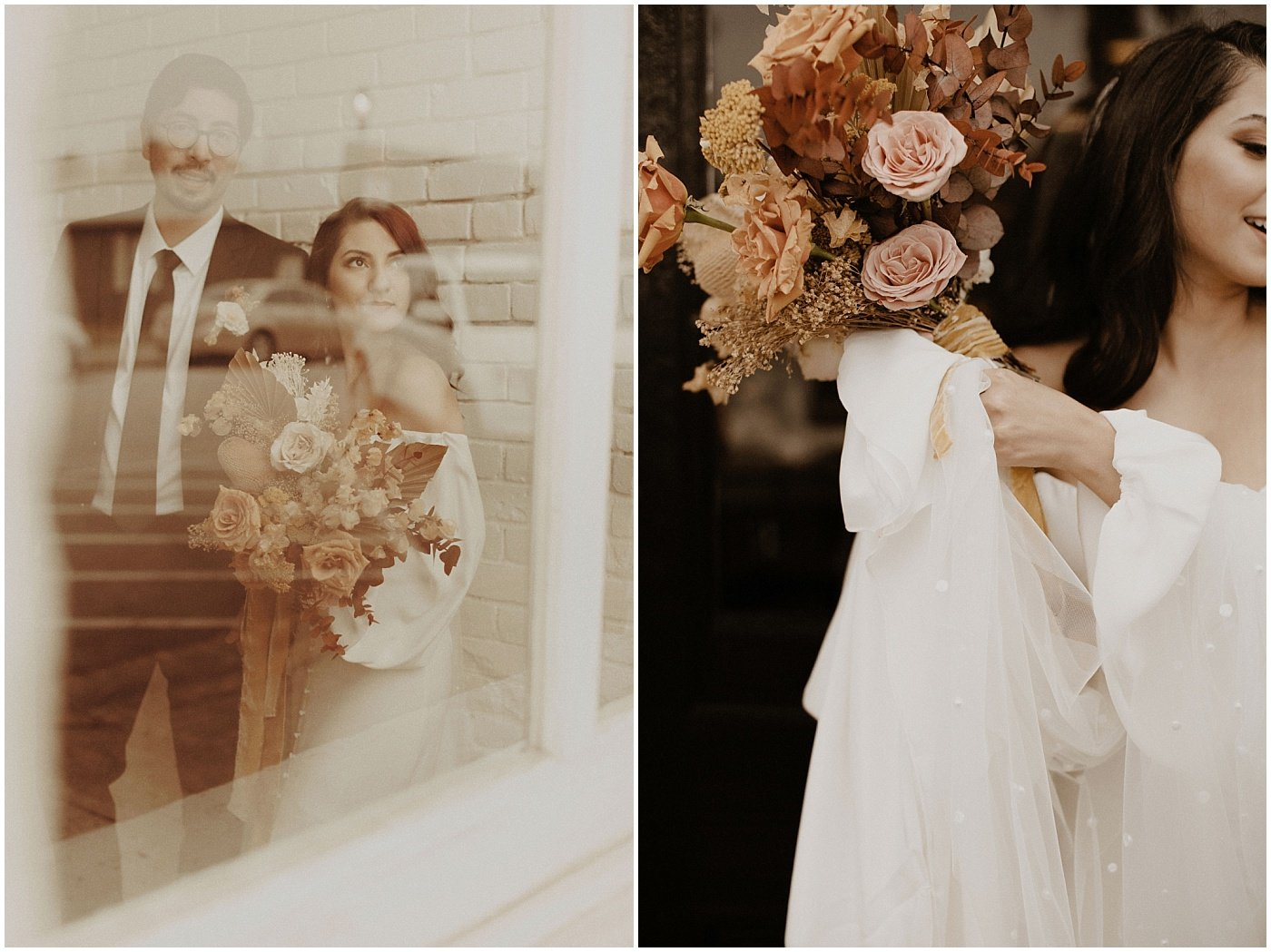 bride holding a mustard, blush, and terracotta boho bouquet with dried florals and roses