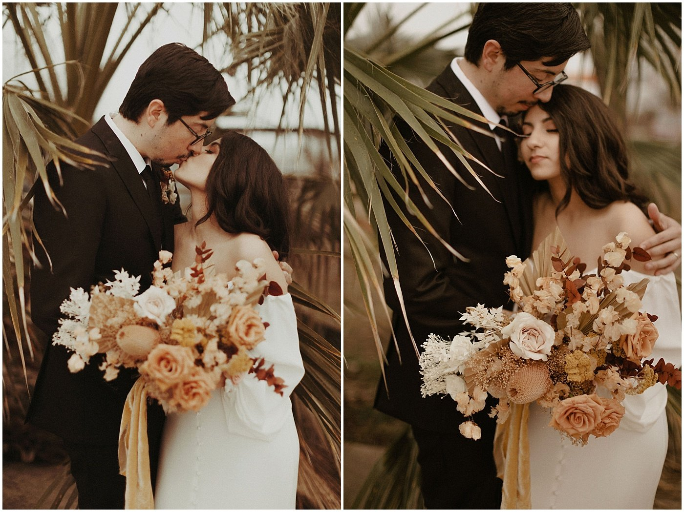 bride holding a mustard and terracotta boho bouquet with dried florals and roses