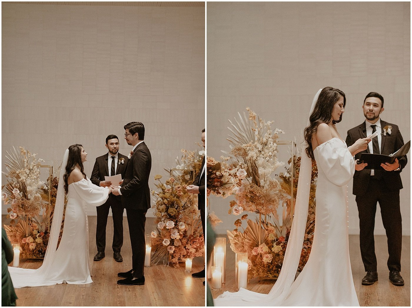 bride and groom exchanging vows during their wedding ceremony at one eleven east