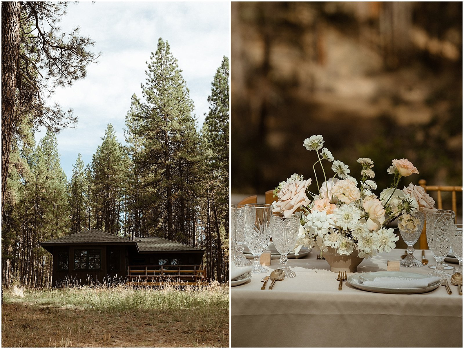 white and blush floral arrangements for an Oregon Wedding at House on Metolius