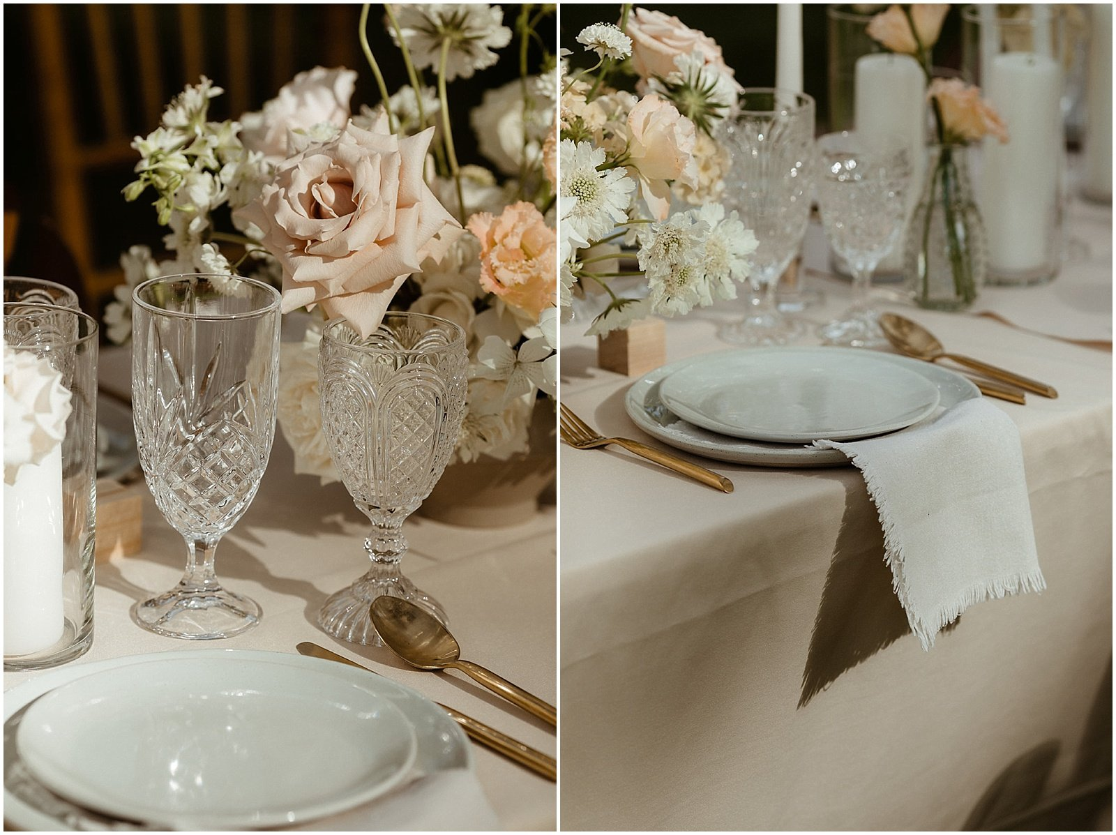 white and blush floral arrangements on reception tables for an Oregon Wedding at House on Metolius