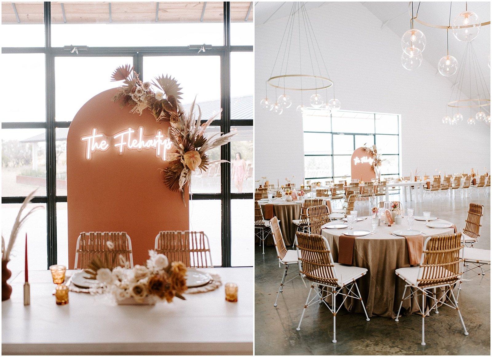 modern boho wedding reception with terracotta and blush details at mae's ridge