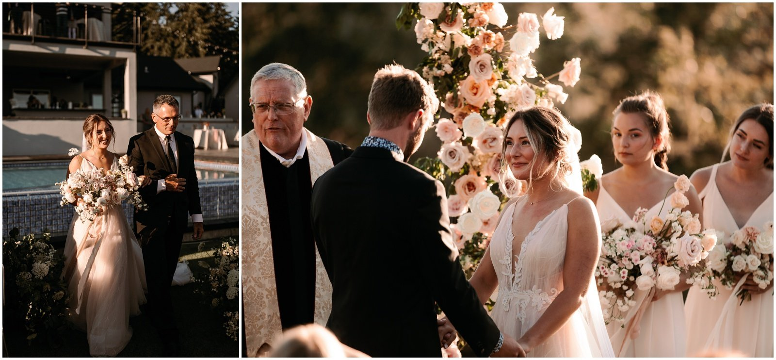 bride and groom saying vows at their ceremony wedding in oregon
