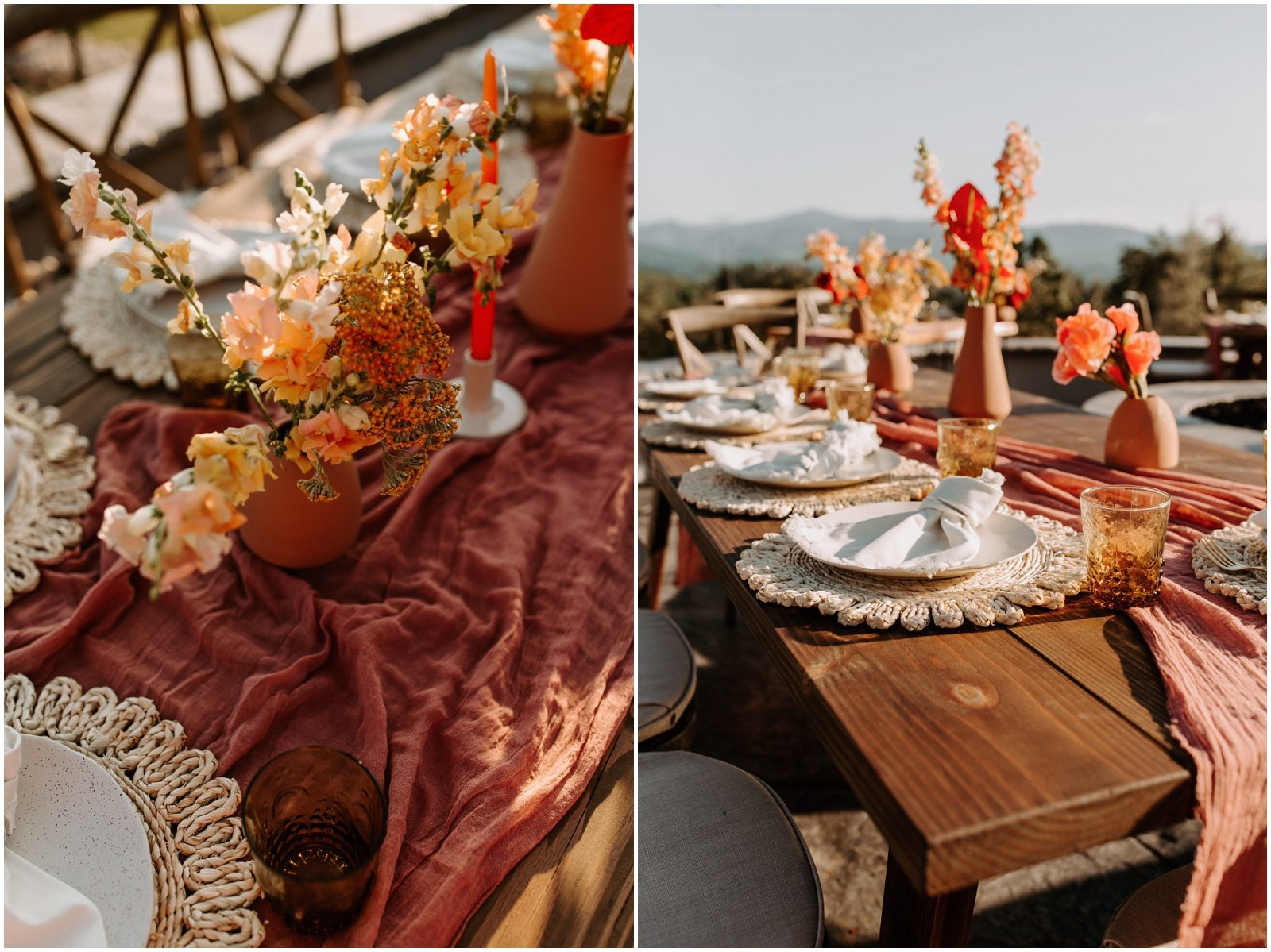 bright orange and terracotta bud vases with florals, wedding reception in oregon