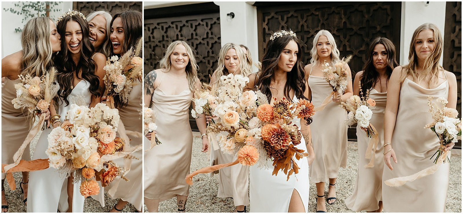 orange wedding bouquets and bridesmaids in champagne dresses, southern california wedding florist