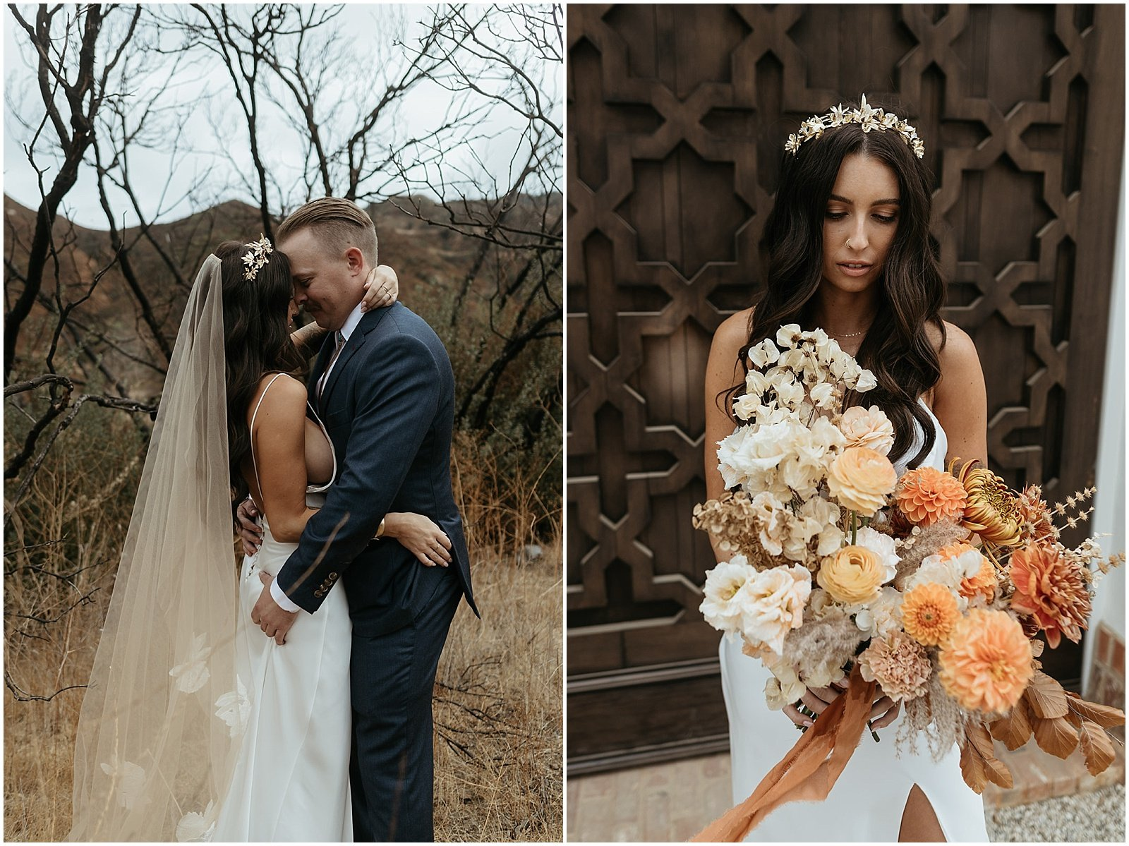 Bride carrying orange and rust bridal bouquet by good seed floral, california wedding florist