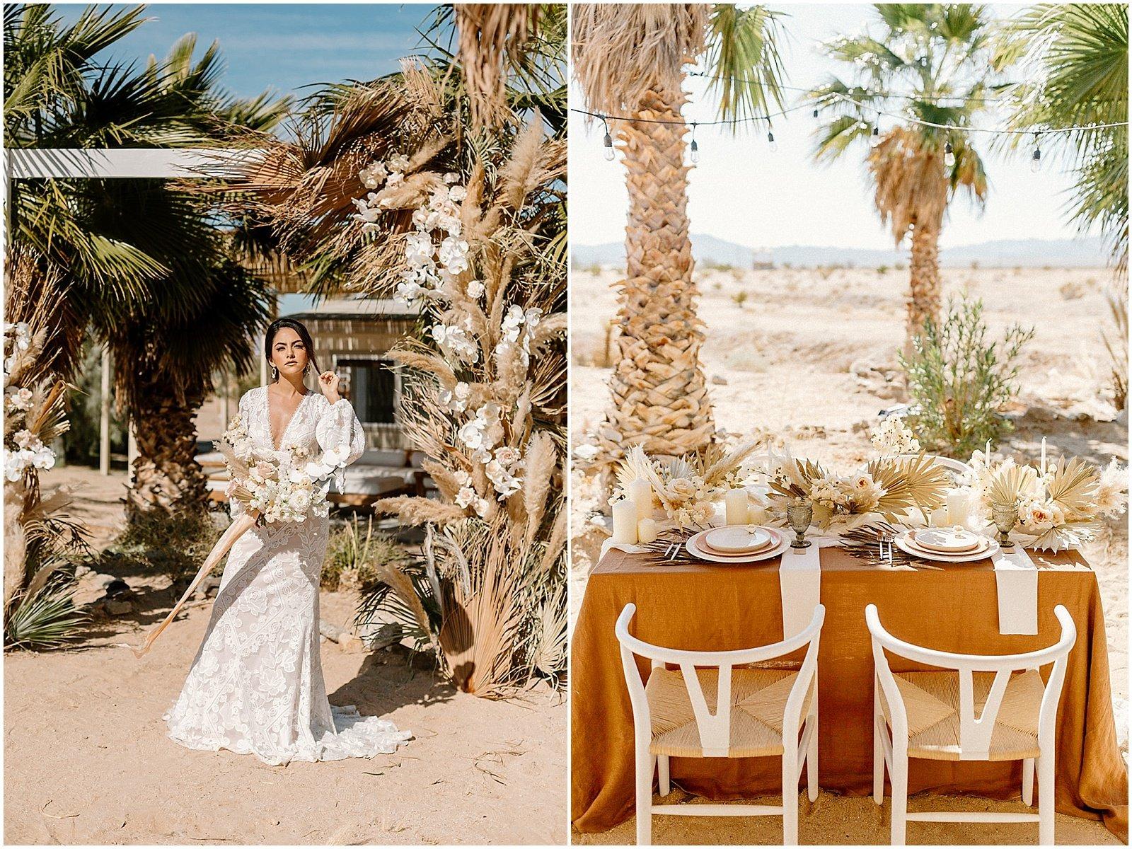 wedding reception set up in Joshua Tree, California