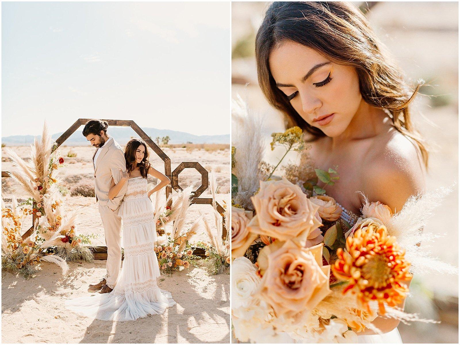 wedding ceremony set up in Joshua Tree, California