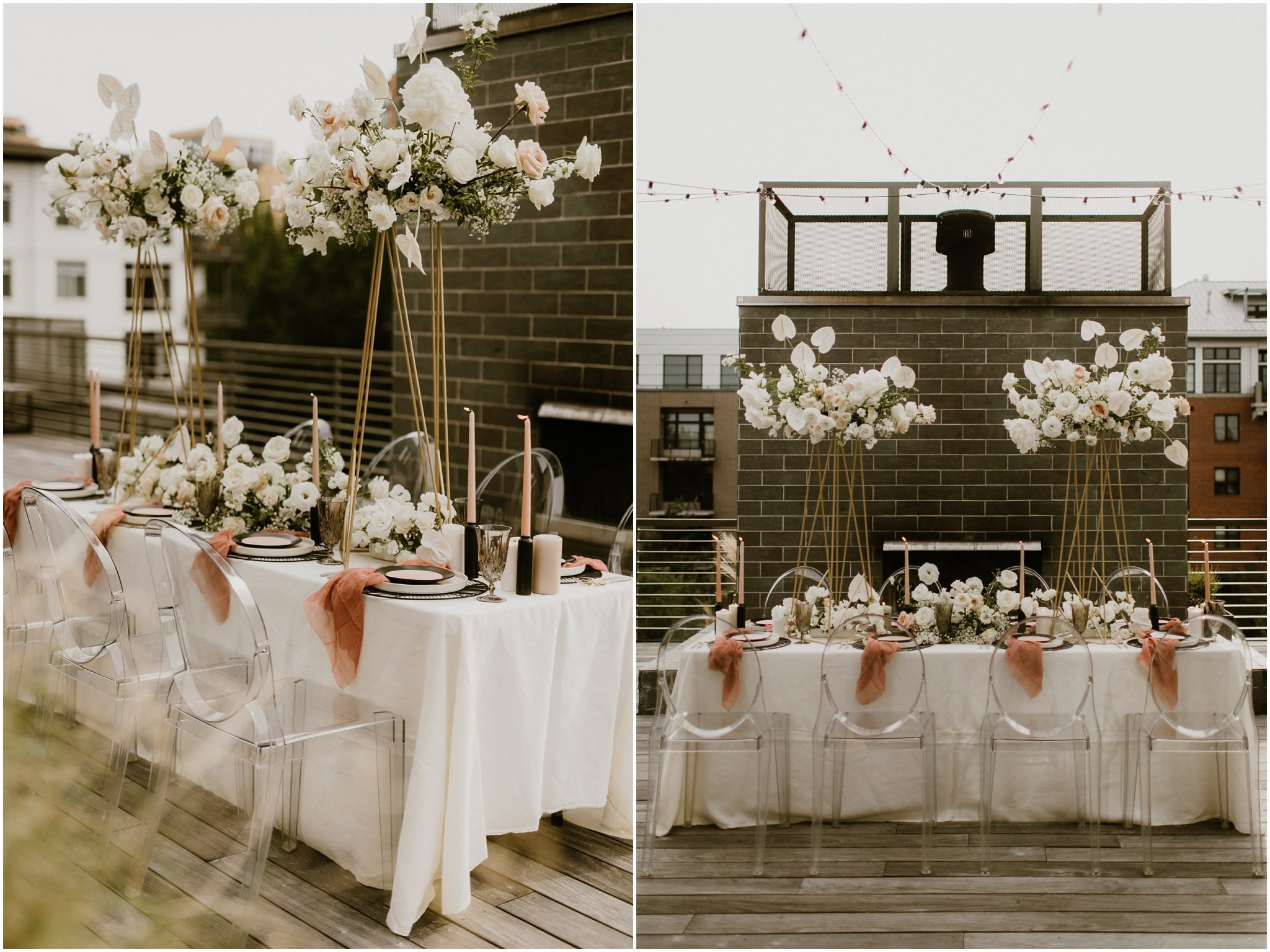 reception table set up with tall floral centerpieces in downtown portland