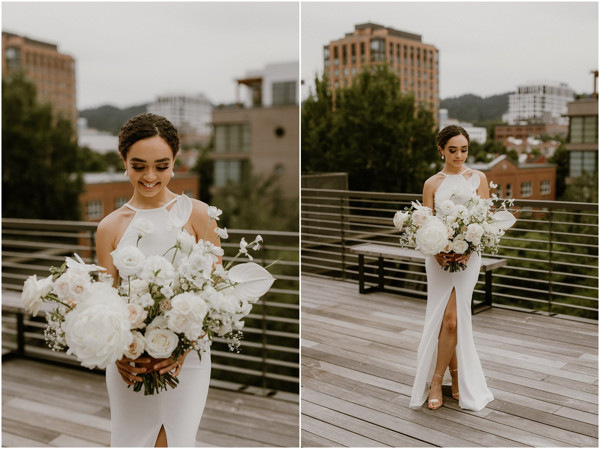 Bride holding all white bouquet and wearing a modern bridal gown on the rooftop of ecotrust building in downtown portland