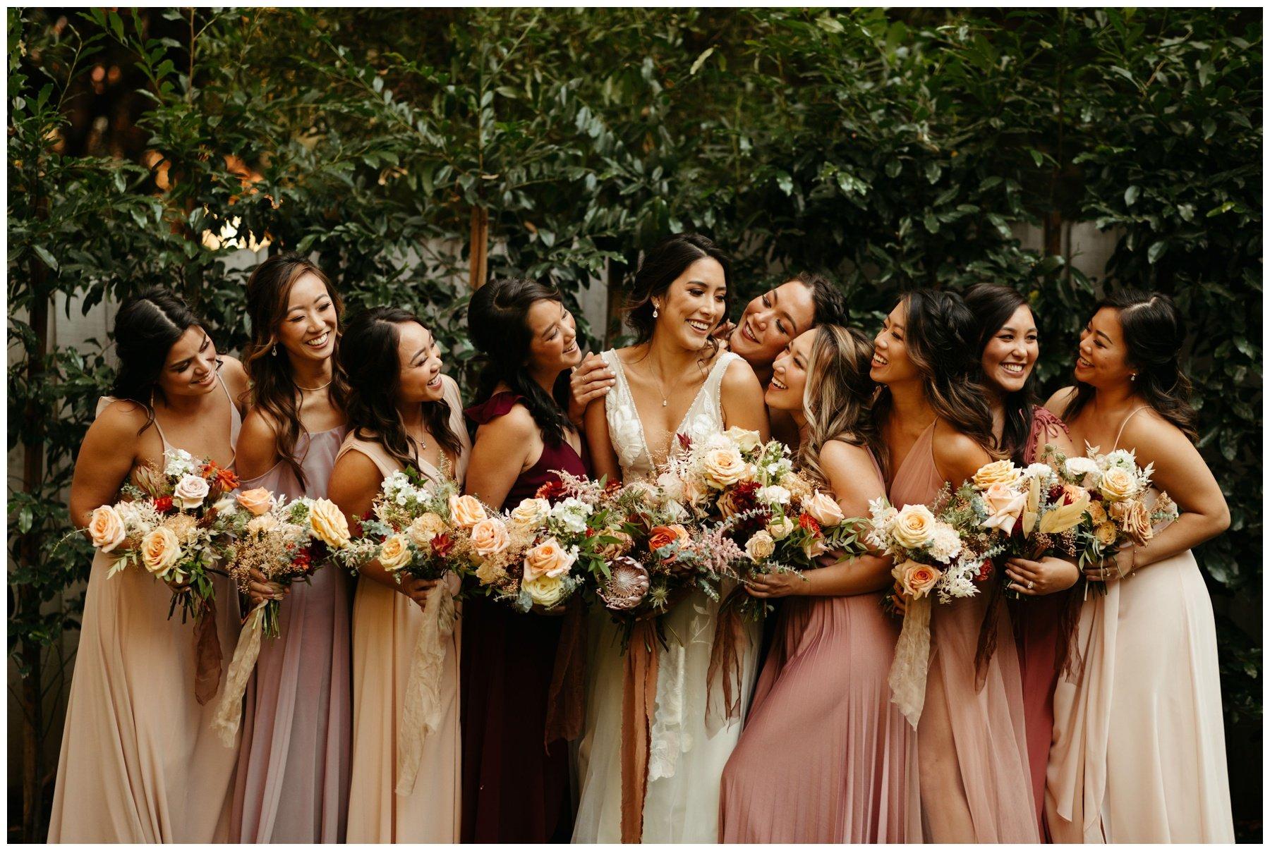 bridemaids photos, socal wedding florist