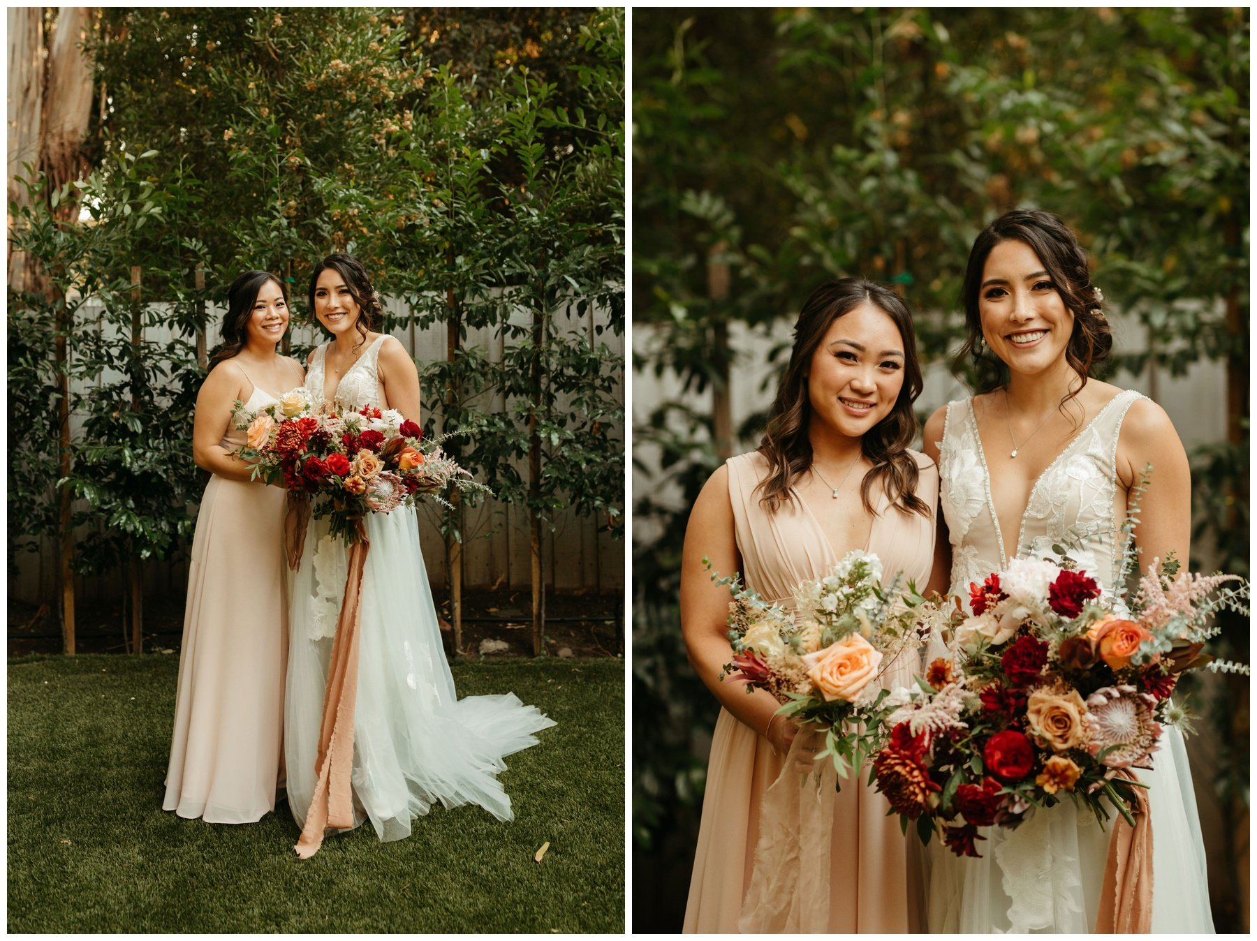 Bride holding a boho bouquet with autumn tones of burgundy and peach