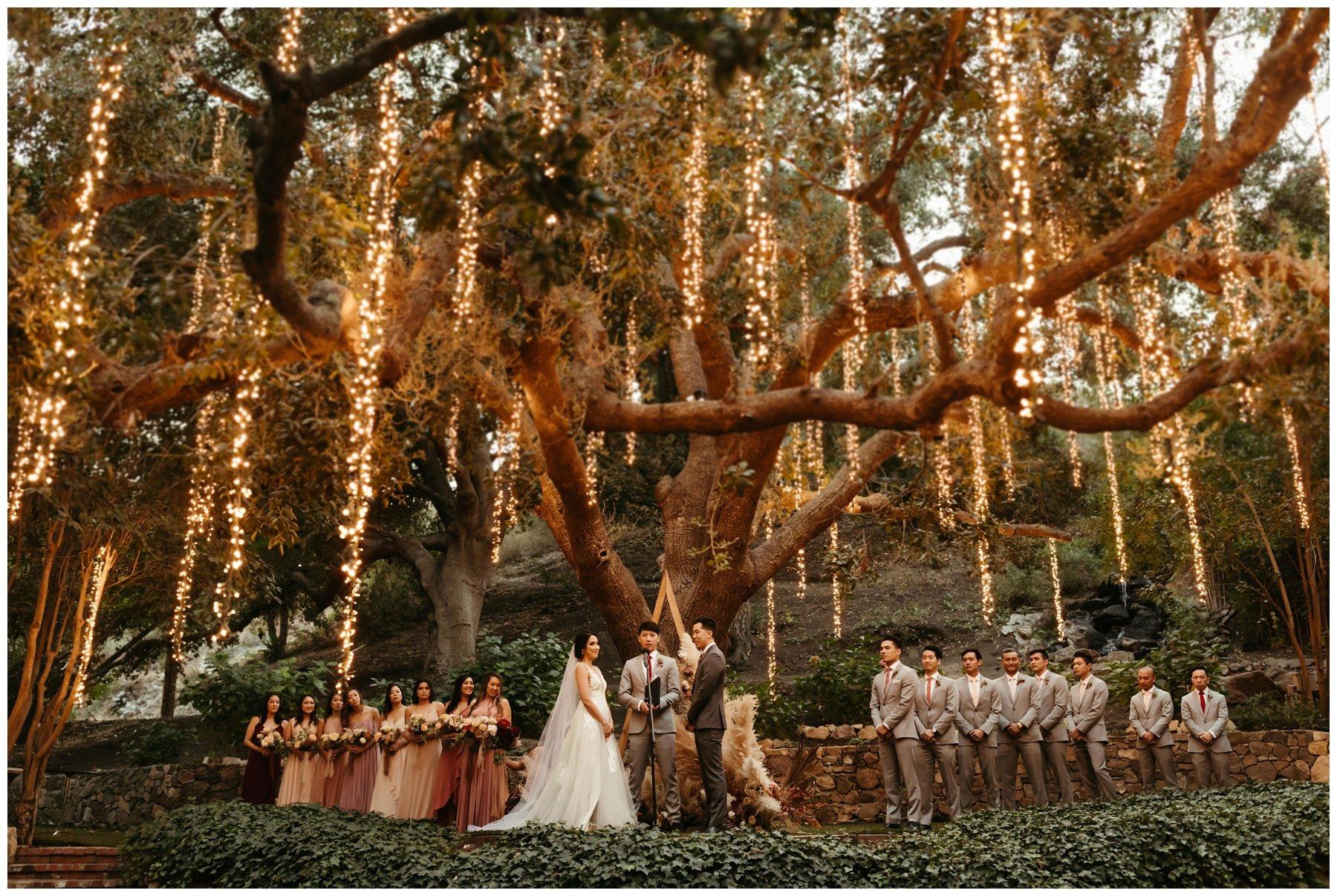 Boho romantic wedding ceremony at calamigos ranch