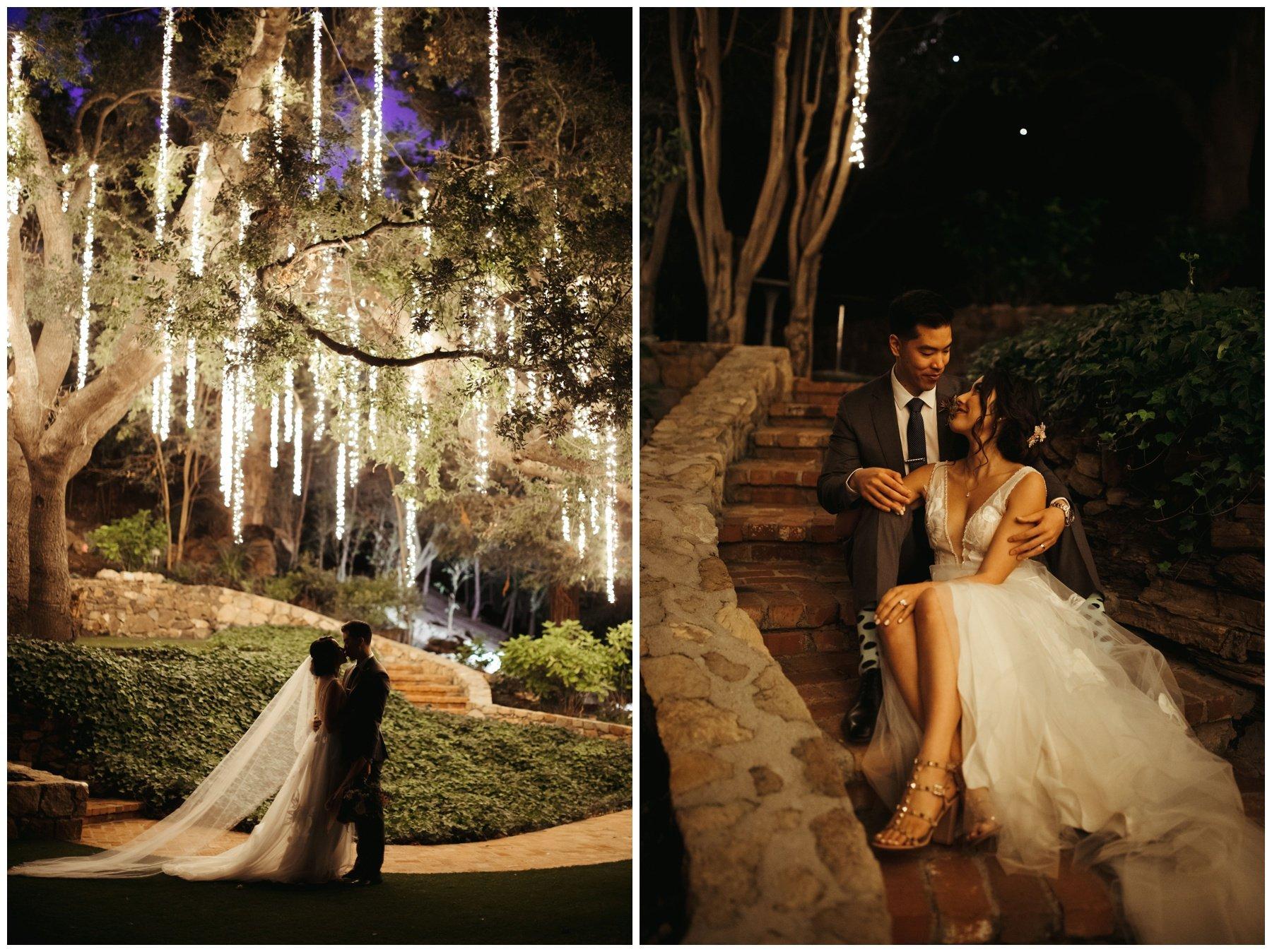 Bride and groom portraits under string lights