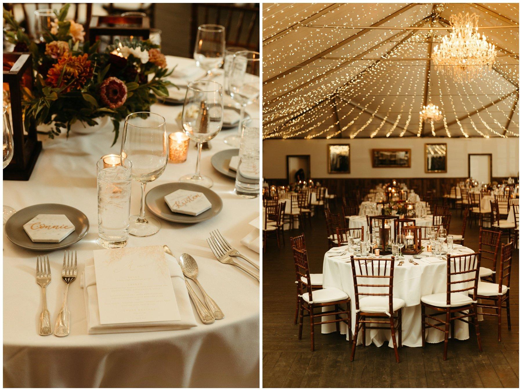wedding reception decor with string lights