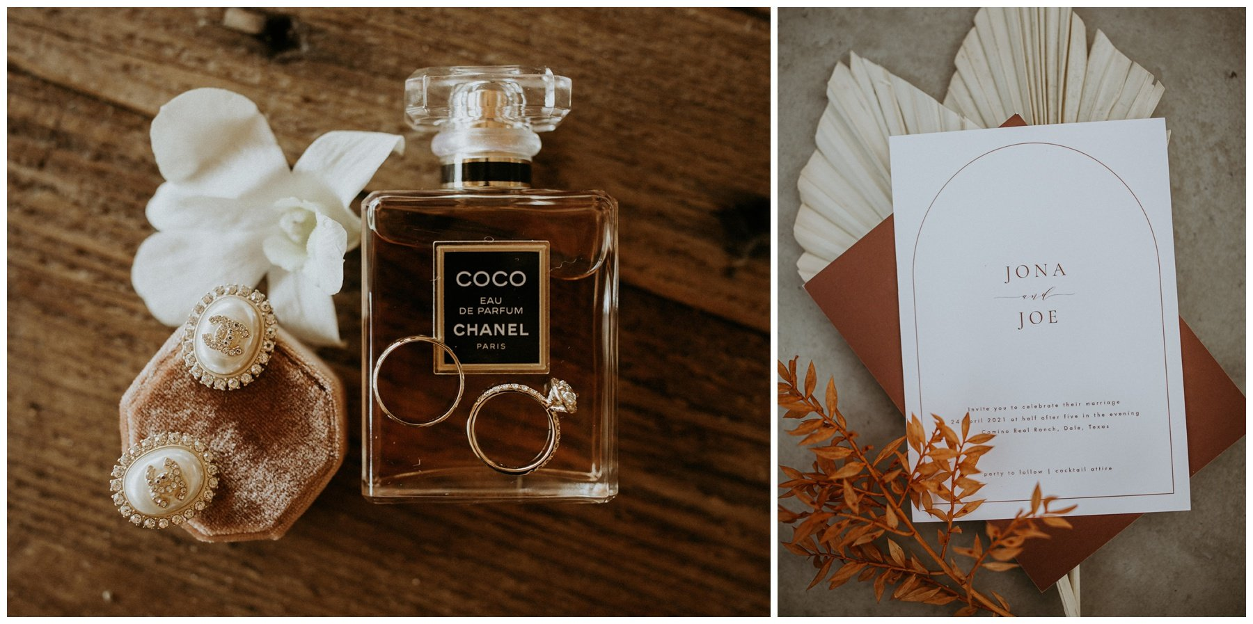 brides wedding details, perfume and rings, wedding invitations