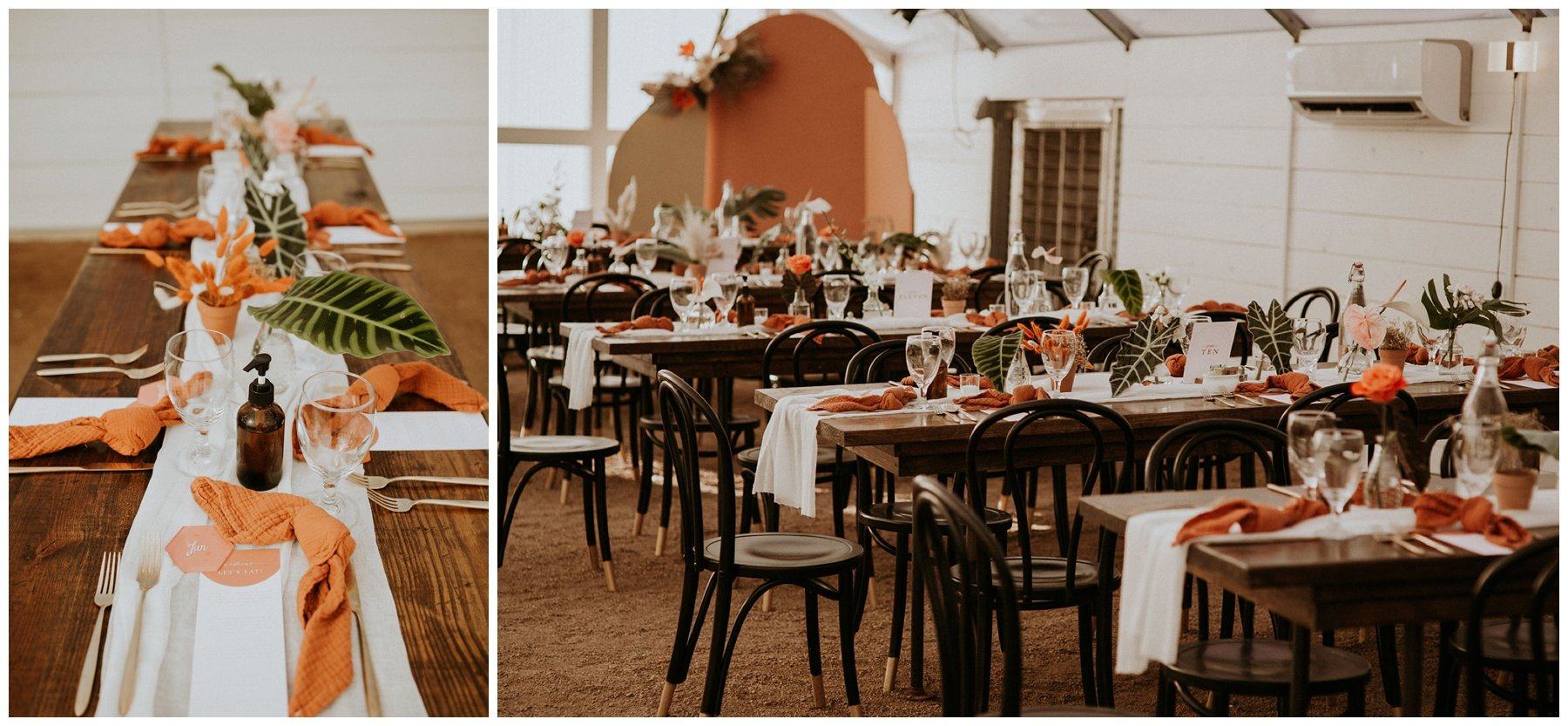 wedding reception tables with tropical flowers at camino real ranch