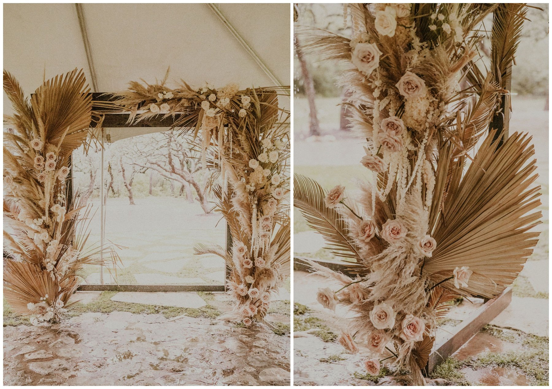 dried ceremony floral arrangement with  palms, pampas grass, blush roses, and orchids