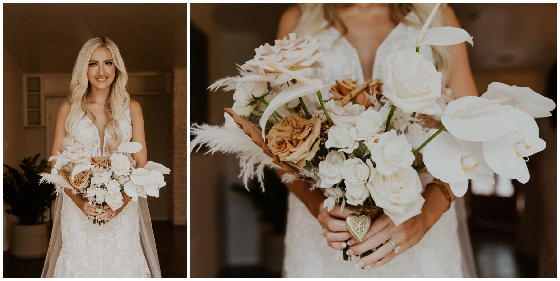 bride holding her bouquet of white, blush, and terracotta blooms