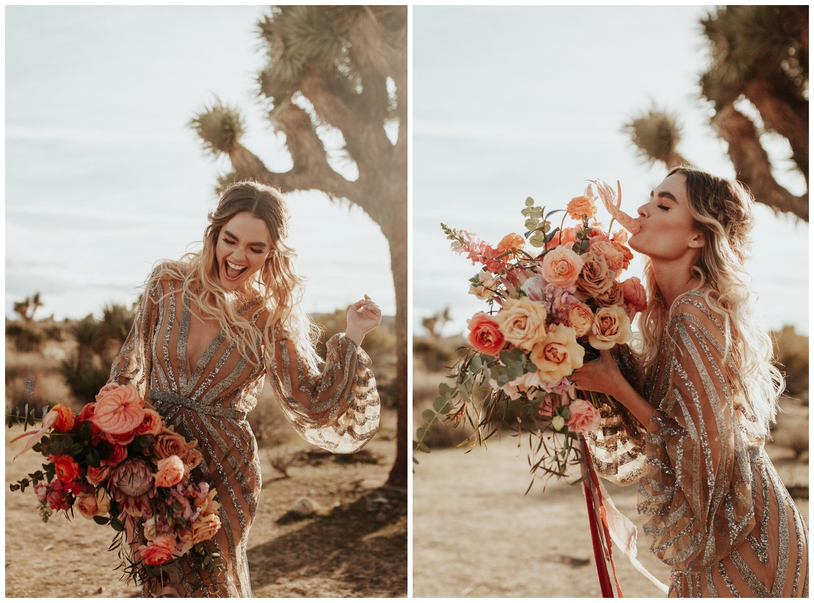 bride holding bridal bouquet with peach and pink flowers in the desert of palm springs