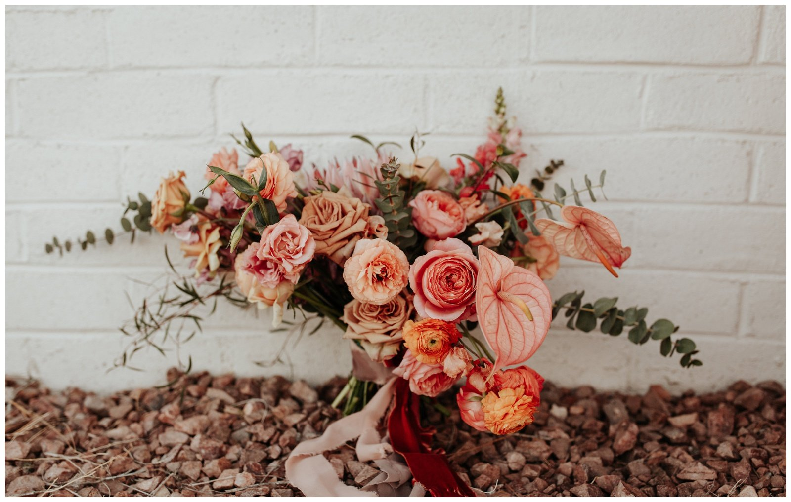 bridal bouquet with peach and pink flowers
