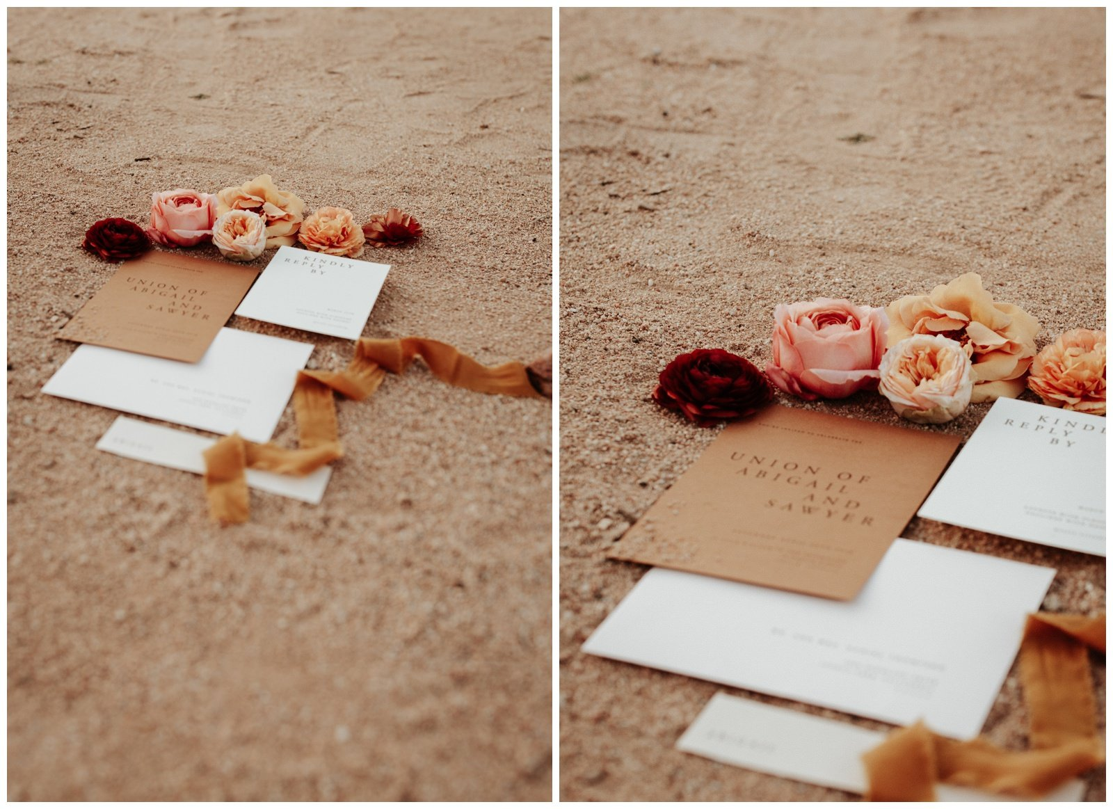 Wedding details, pink invitations, peach flowers