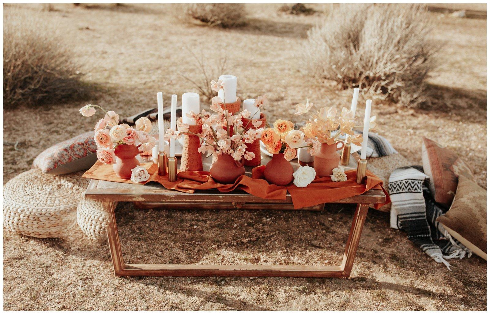 Wedding dinner set up in the desert