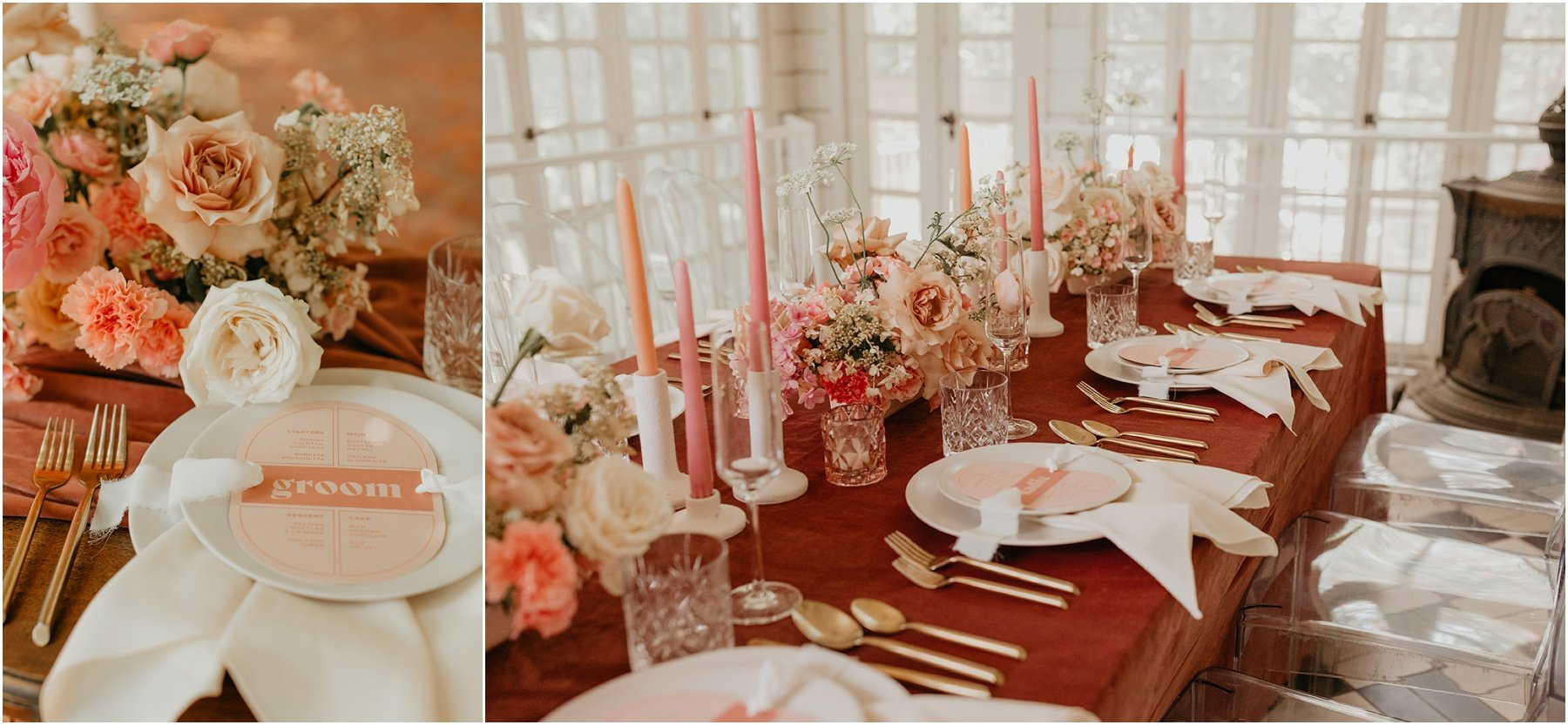 wedding dinner table set up with blush and peach blooms, a burgundy velvet runner and pink candlesticks at woodbine mansion