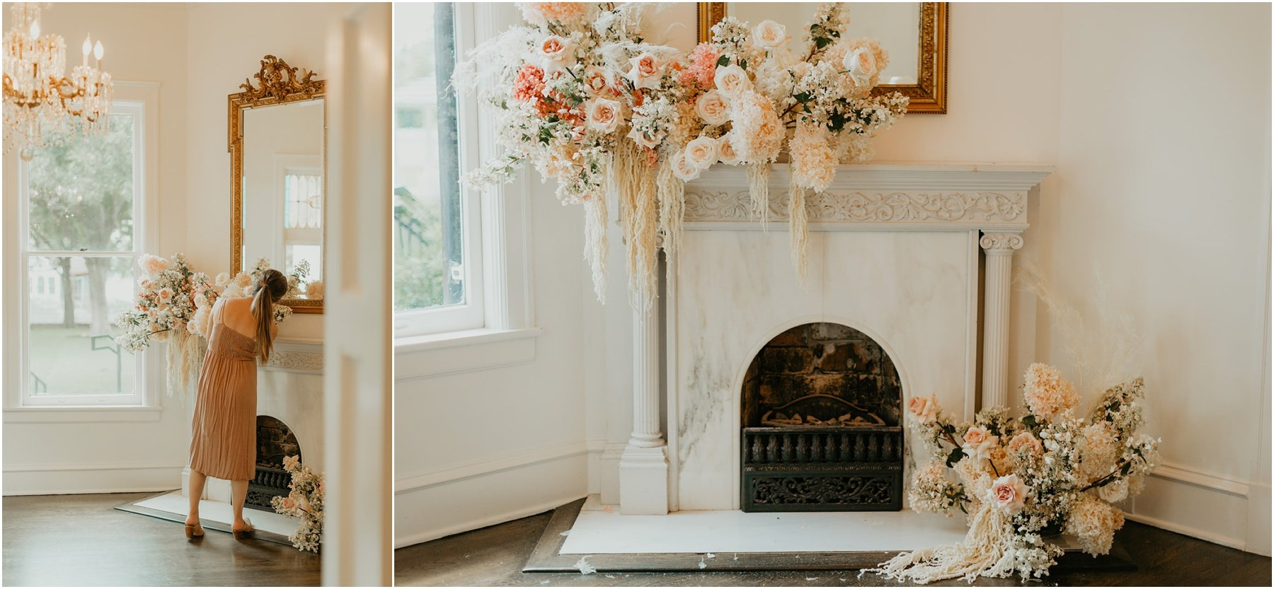 a lush and fluffy floral arrangement with roses a top the fireplace mantle at woodbine mansion