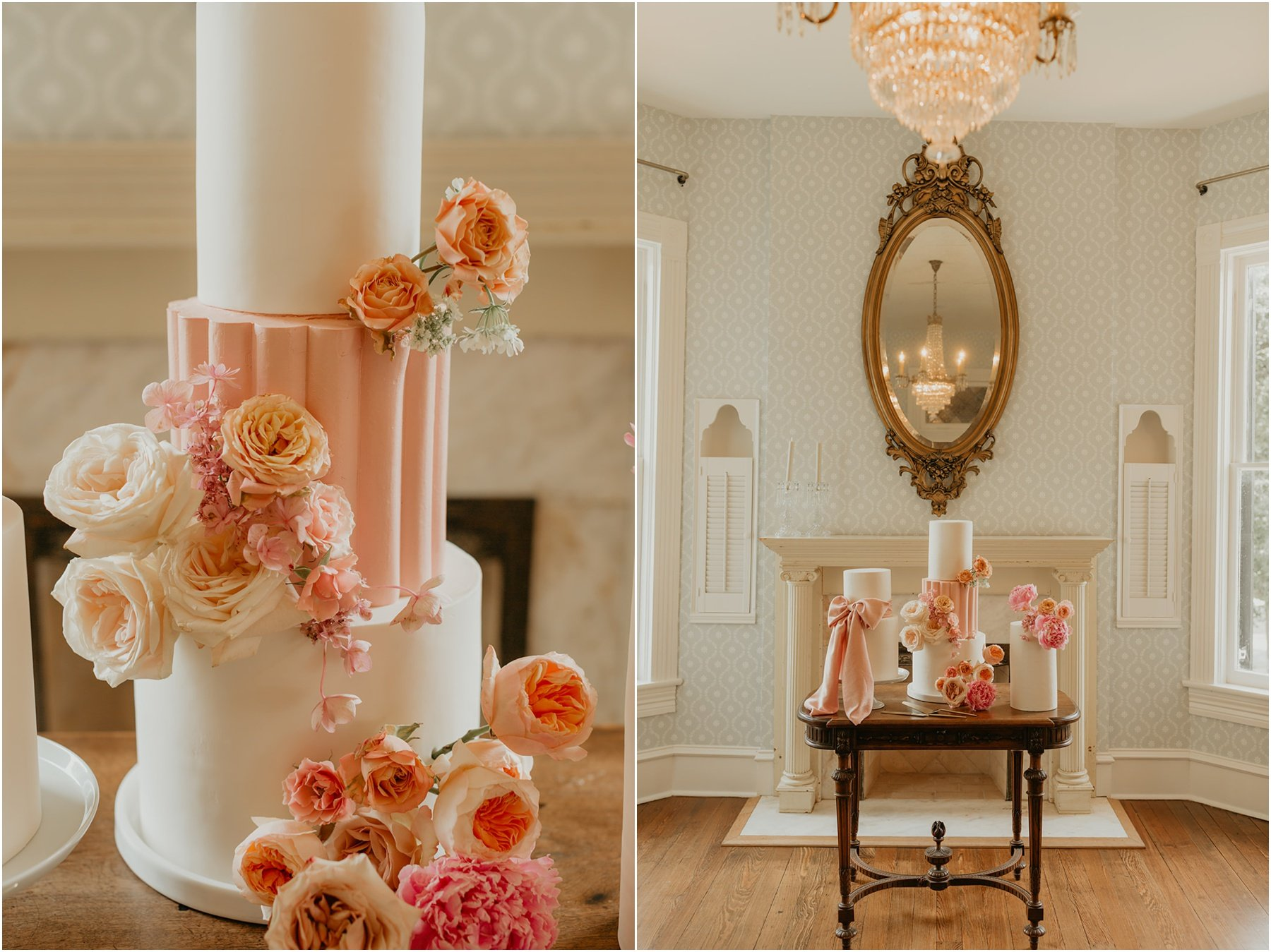 elegant and romantic 3 tier wedding cake with blush and peach roses at woodbine mansion